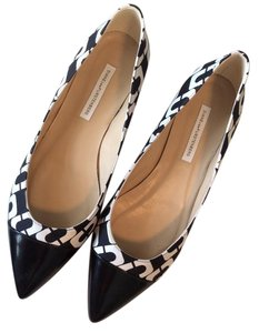 Diane von Furstenberg Dvf Print Chain Link Black and White Flats