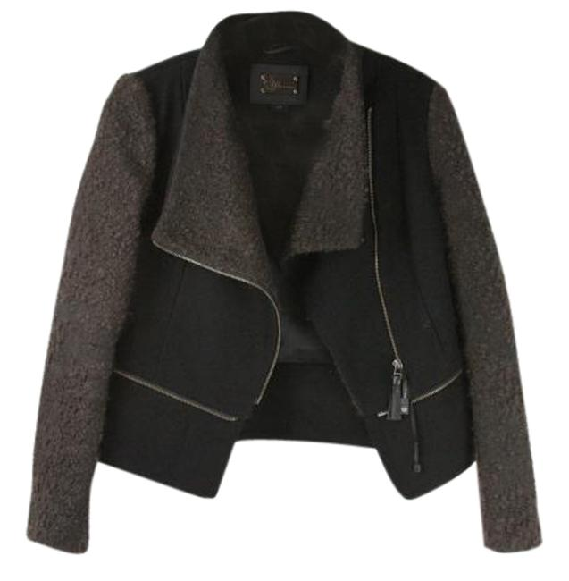 Item - Black and Brown Two Way Wool Jacket Coat Size 4 (S)