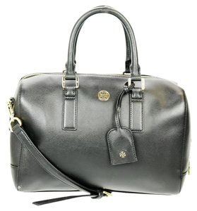 Tory Burch Designer Leather Gold Hardware Satchel in Black