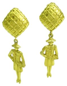 Chanel CHANEL GABRIELLE GOLD PLATED FIGURAL DROP EARRINGS *Very Rare