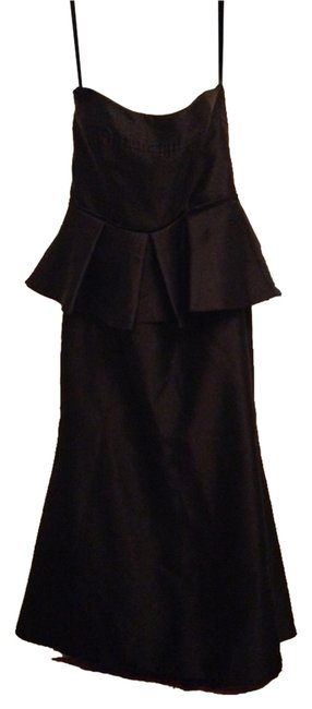 Item - Black Gown with Peplum Long Cocktail Dress Size 14 (L)