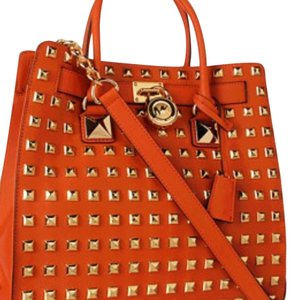 MICHAEL Michael Kors Studded Hamilton Saffaino Leather Mk Sudded Hamilton Tote in Orange