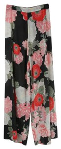 Alice + Olivia Wide Leg Pants Black and Floral