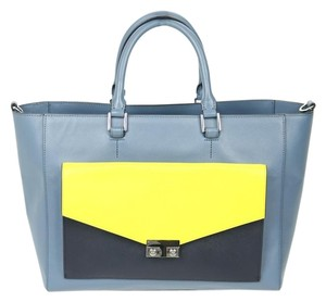 Tory Burch Leather Tote in Blue and Yellow