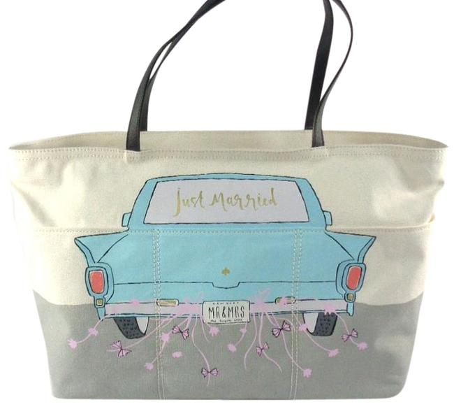 """Item - """"Just Married"""" Mr & Mrs Honeymoon Off White/Gray/Multi-color Canvas Tote"""