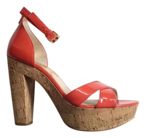 MICHAEL Michael Kors Orange Leather Mk Platform Mandarin Patent Sandals