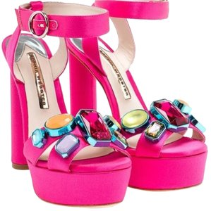 Sophia Webster Amanda Gem Bright Rose Platforms