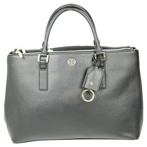 Tory Burch Gold Hardware Leather Tote in Black
