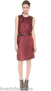 Helmut Lang Quantum Drape Overlap In Corsa Wine Dress