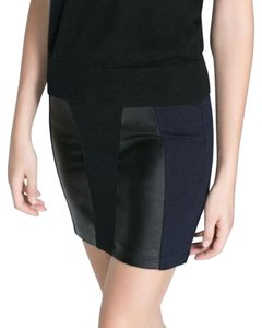 Zara Bodycon Faux Leather Panel Date Night Night Out Mini Skirt Black / navy