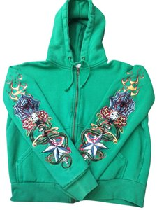 Romeo & Juliet Couture Tattoo Skull Skater Hoody Green Jacket