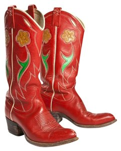 Ralph Lauren Cowboy Vintage Cowboy Red Leather Boots