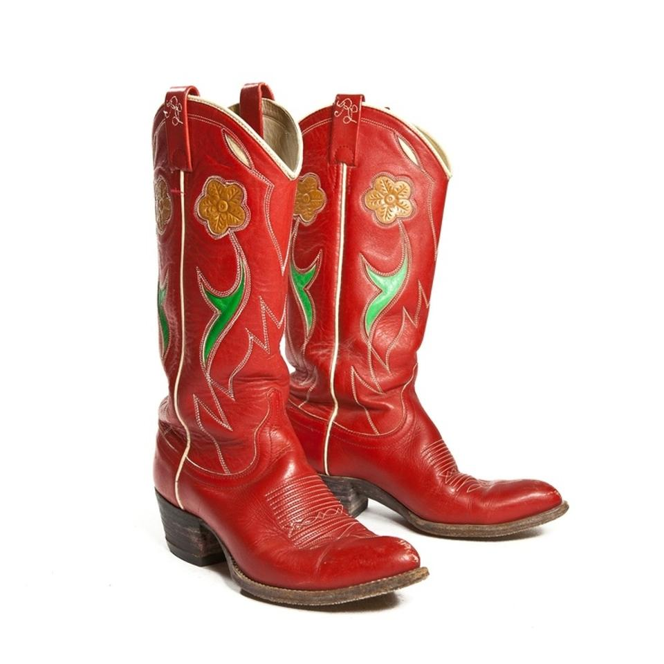 Ralph Lauren Western Vintage Cowboy Red Leather Boots   Boots ...