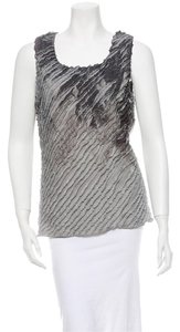 Magaschoni Feather Evening Wear Top Grey & Black