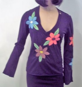 JOY STICK Hand Embroidered Flowers Sweater