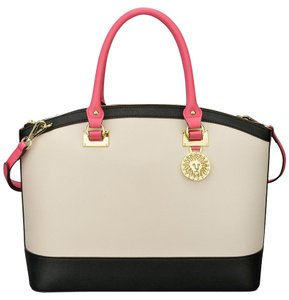 Anne Klein Dome Pink Satchel in Sugar/black/tulip
