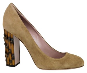 Gucci Bamboo Heel 338753 Taupe Pumps