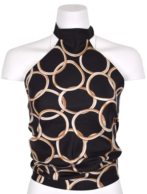 Item - Multi-color New Women's Black Silk Gold Ring Interlocking Gg Scarf O/S Halter Top Size OS (one size)