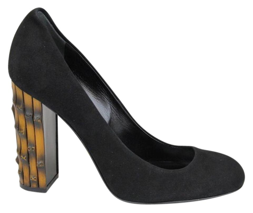0ebd91f00a4 Gucci Black Suede Round Toe Bamboo Heel 40.5 10.5 338753 Pumps Size ...