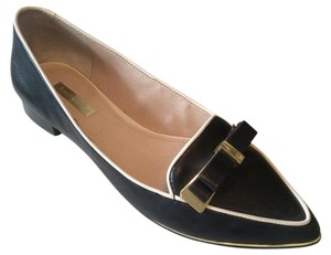 Louise et Cie Gold Hardware Black Leather Flats