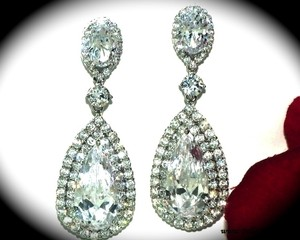 Bella Tiara Extravagant Cz Wedding Drop Earrings