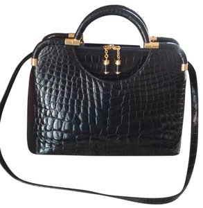 Judith Leiber Vintage Black Noir Croc Satchel in Black Crocodile
