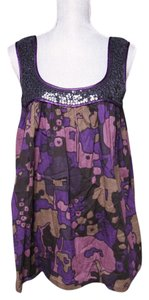 French Connection Loose Sequin Tunic Top Purple