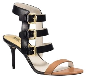 MICHAEL Michael Kors Strappy Gold Buckles Beverly Black and Tan Sandals