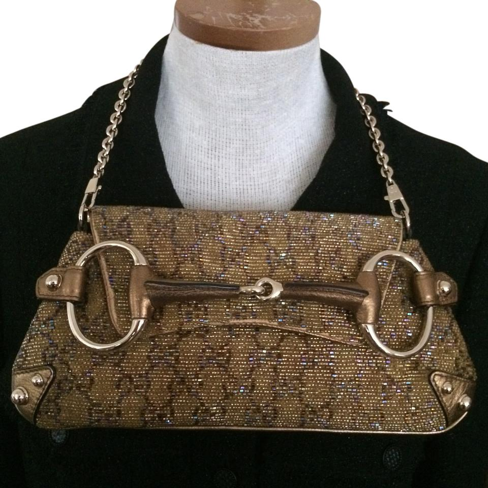 e2cc7e348efe7e Gucci Horsebit Clutch Beaded / Gold / Brown Leather Shoulder Bag ...