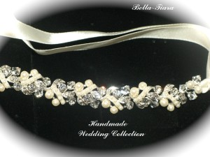 Bella Tiara Beautiful Swarovski Crystal And Pearl Ribbon Wedding Headband