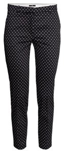 H&M Black White Patterned Ankle Trouser Pants Black/white