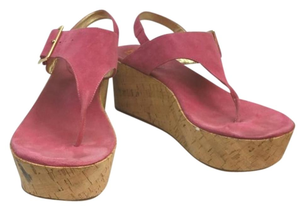 1962feb4a99 Michael Kors By Pink Suede T Strap Platform M Sandals Size US 10 ...