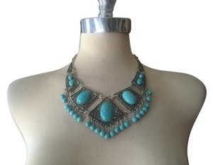 Anthropologie Chunky Silver Turquoise Necklace