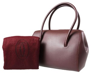 Cartier Must De Boston Hand Bordeaux Leather Satchel in Brown
