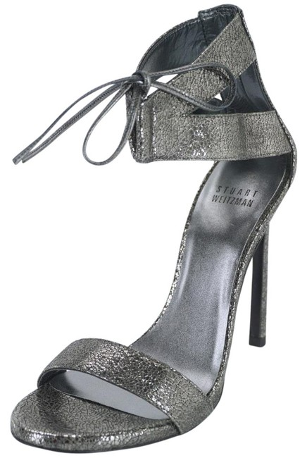 Stuart Weitzman Gray Tynela Pewter Crackled Leather Ankle Strap Lace Up Sandals Size US 6 Regular (M, B) Stuart Weitzman Gray Tynela Pewter Crackled Leather Ankle Strap Lace Up Sandals Size US 6 Regular (M, B) Image 1