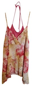 La Kohaki Glitter Floral Strappy Stretchy Summer Top Tan, Brown, and Pink