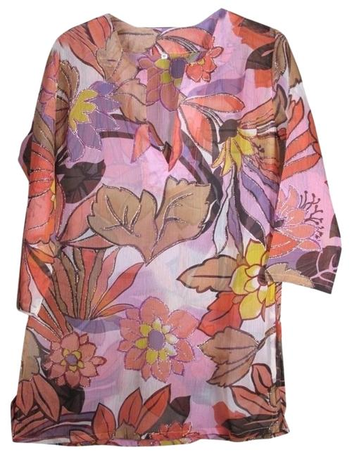 Preload https://img-static.tradesy.com/item/16656793/pinkgold-sheer-rayon-pinkgold-floral-indian-tunic-size-4-s-0-1-650-650.jpg