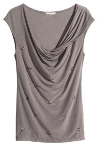 H&M Soft Drape Sequins Top Taupe