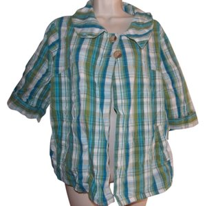 Classic Elements Top Green and Blue plaid multi