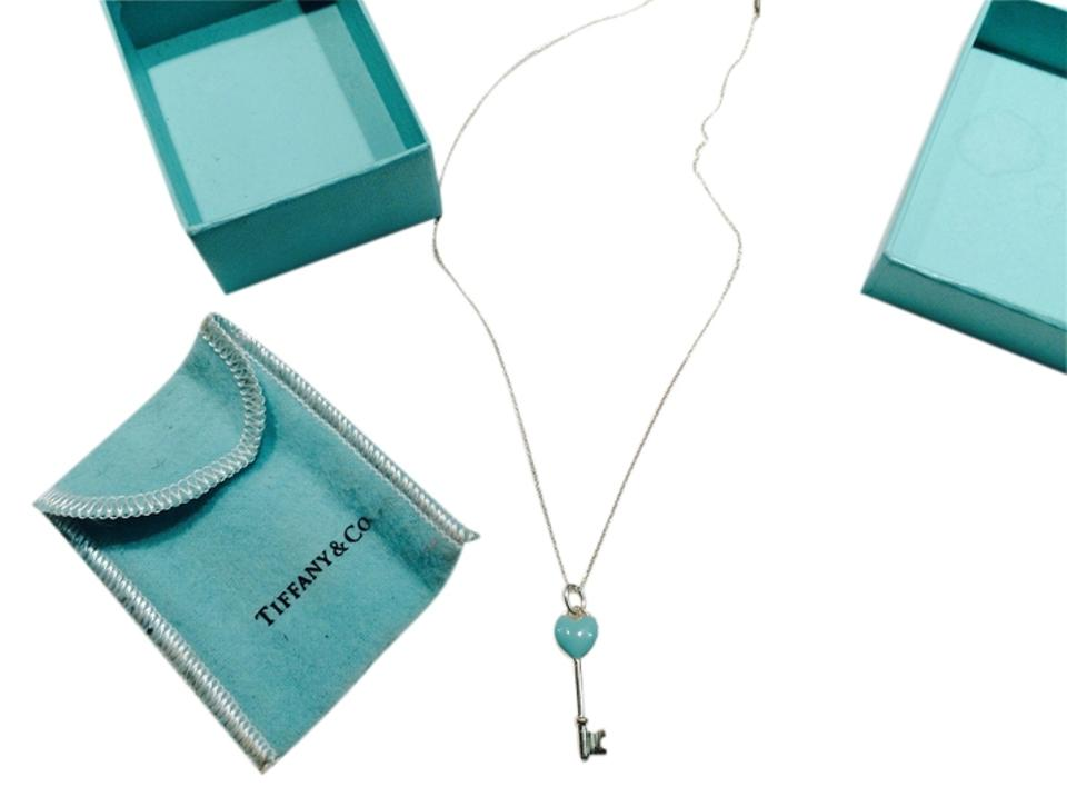 5896c04b84d Tiffany & Co. Sterling Silver and Blue Keys Heart Key Pendant On Chain  Necklace