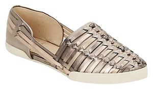 Elliott Lucca Leather Metallic Woven Gold Flats