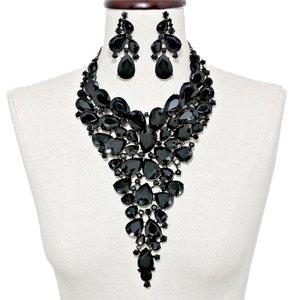 Other Stunning Black Rhinestone Crystal Bib Collar Necklace and Earring Set