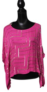 Parker Geometric Sequin Silk Chiffon Square Poncho Top Pink