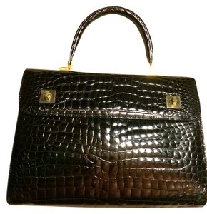 I Santi Handbag Gold Leather Italian Made Made In Italy Satchel in Black Quilt