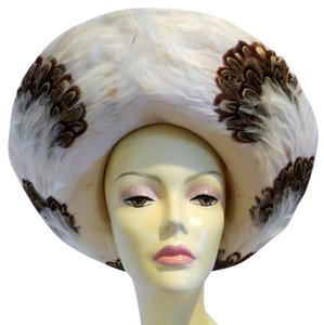 Jack McConnell Jack McConnell Boutique Felt Hat with Feather Trim - Ivory