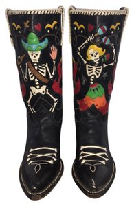 Rocketbuster Boots Handmade Leather Day Of The Dead Black Boots