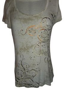 Maurices Small Blingy Rhinestones Cap Sleeves Cute T Shirt White