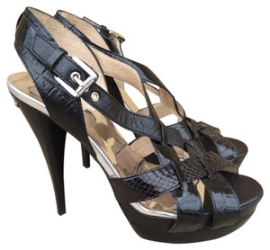 Michael Kors Snake Leather Platform Buckle Black Sandals