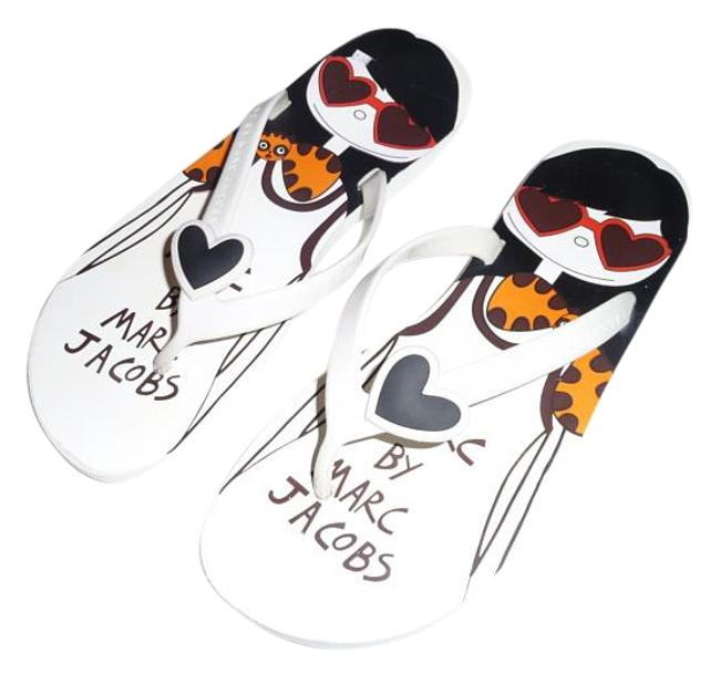 Item - White Red Black and Orange Friends Of Mine Collection Sandals Size US 7 Regular (M, B)