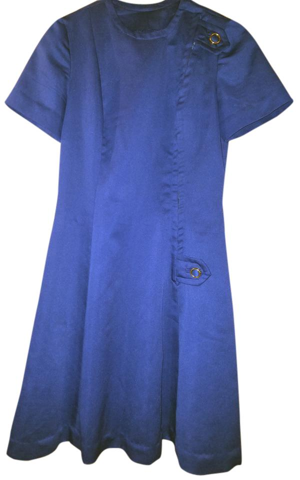 Navy Blue with Gold Buttons 1960's A-line Stewardess Above Knee Cocktail  Dress Size 8 (M)